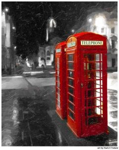 Red British Telephone booths on the royal Mile - Edinburgh Print by Mark Tisdale