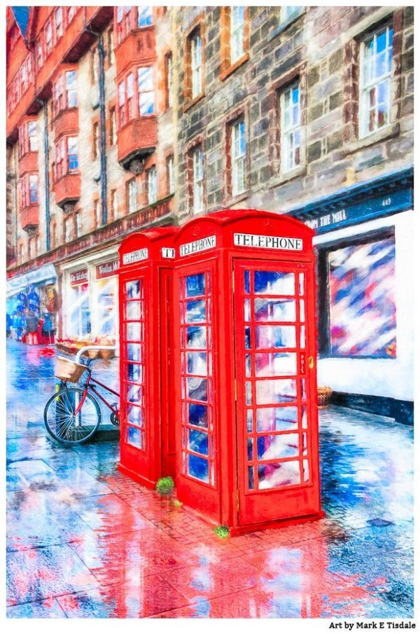 Red Telephone Boxes On The Royal Mile - Edinburgh Scotland Print by Mark Tisdale