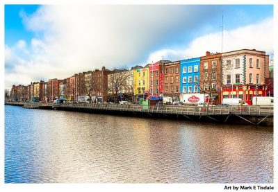 River Liffey waterfront in Dublin Ireland in Winter - Cityscape Print by Mark Tisdale