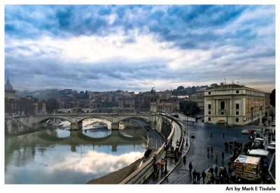 River Tiber - Stormy Rome Italy Print by Mark Tisdale