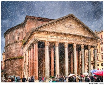 Roman Pantheon in the rain - Rome Italy Architecture Print by Mark Tisdale