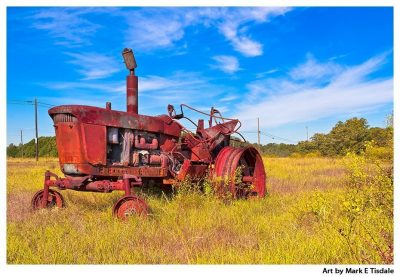 Rust Red Tractor - Rural Georgia Print by local artist Mark Tisdale