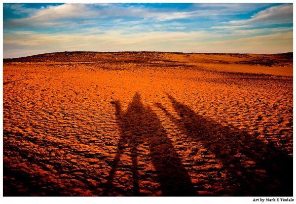 Sahara Desert  Camel Shadows Landscape Print by Mark Tisdale