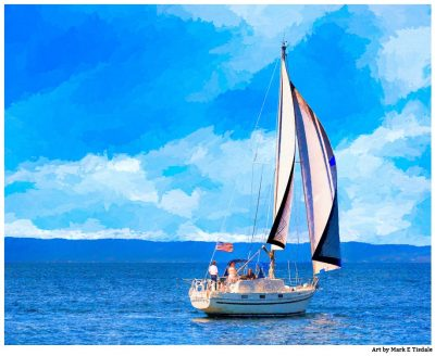 Sailboat on Monterey Bay - California Coast Print by Mark Tisdale