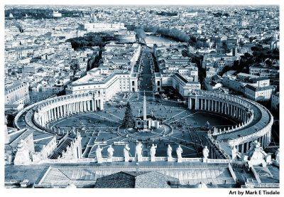 Saint Peter's Square In The Vatican - Rome Black and White Print by Mark Tisdale