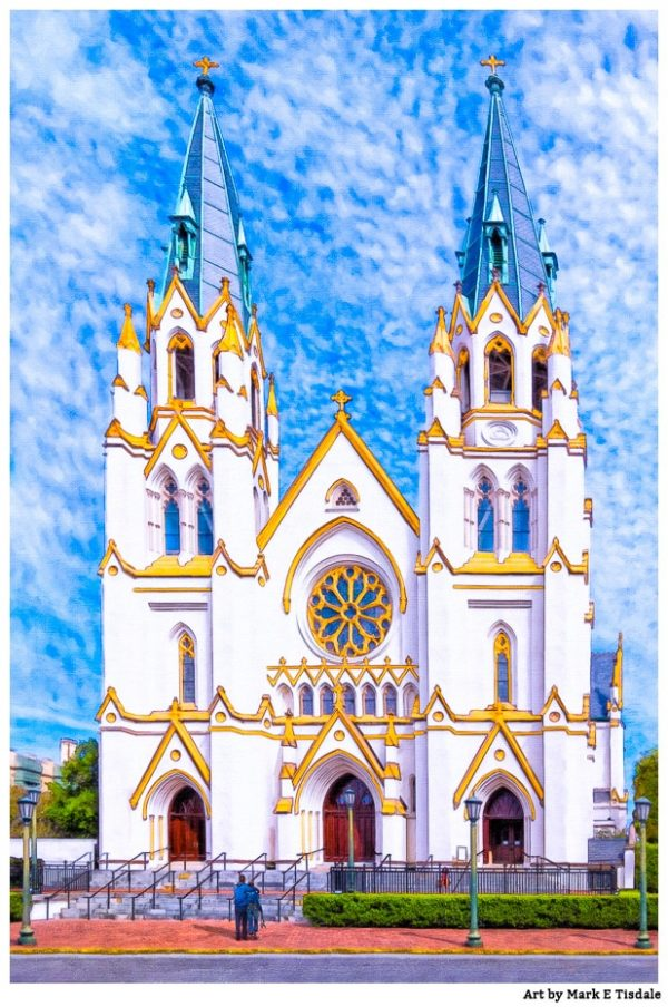 Savannah Cathedral Near Lafayette Square - Gothic Architecture Print by Georgia artist Mark Tisdale