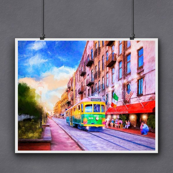 Savannah River Street Ready To Frame Print by Mark Tisdale