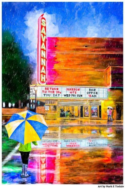 Savannah Theatre Neon Sign Art Print by Georgia artist Mark Tisdale