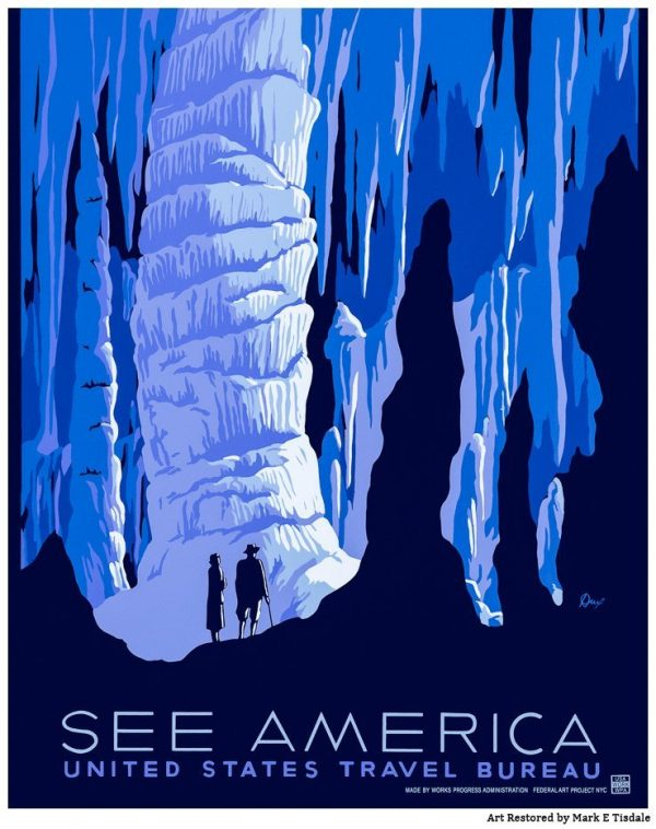 Vintage American Travel Ad - Natural Caverns - Restored Art by Mark Tisdale