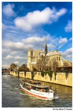 Seine Cruise past Notre Dame Cathedral - Paris Print by Mark Tisdale