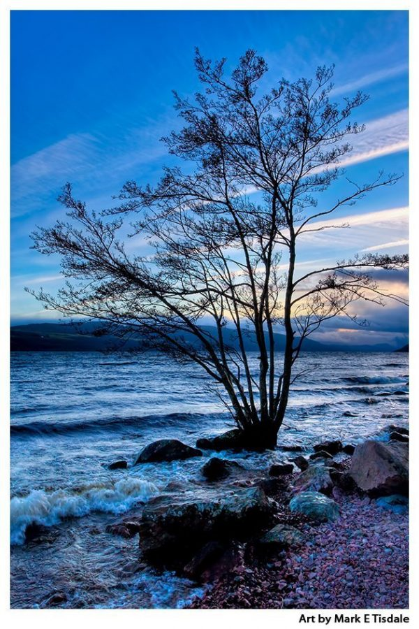 Shores Of Loch Ness at Dusk - Scotland Print by Mark Tisdale