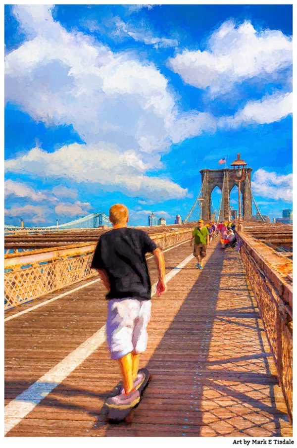Skateboarding On The Brooklyn Bridge - New York City Print by Mark Tisdale