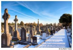 Snow covered cemetery path through Celtic Crosses - Glasnevin Dublin Ireland Print by Mark Tisdale