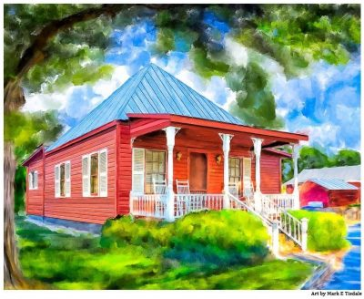 Little Red Cottage Style Artwork by Georgia artist Mark Tisdale