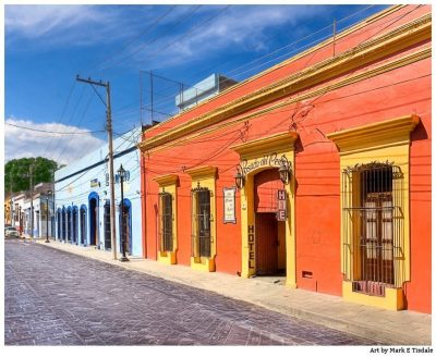 Vibrant Spanish Colonial Architecture - Oaxaca Mexico Priint by Mark Tisdale