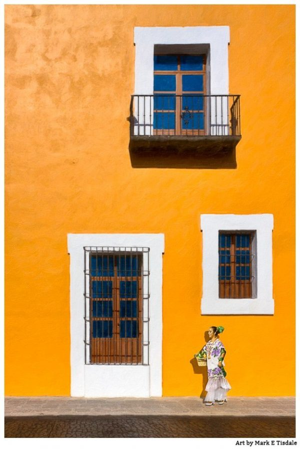 Spanish Colonial Architecture in Puebla Mexico - Golden Mexican Art Print by Mark Tisdale