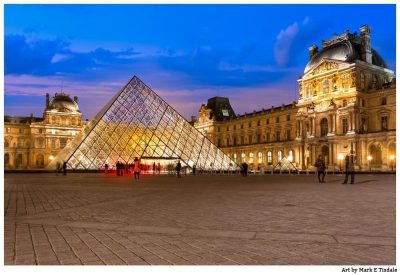 Louvre Courtyard & Pyramid at Dusk - Paris Print by Mark Tisdale