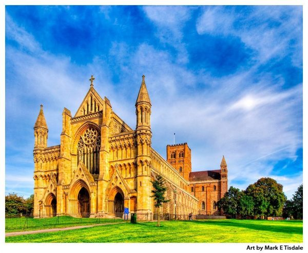 St Albans Abbey - church under dramatic skies - England Print by Mark Tisdale