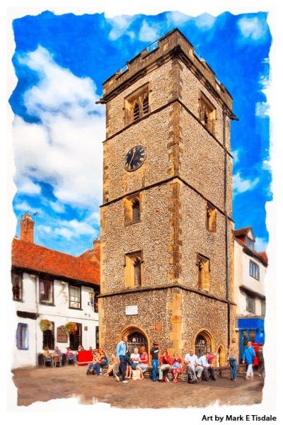St Albans Clock Tower - Medieval Architecture Print by Mark Tidale