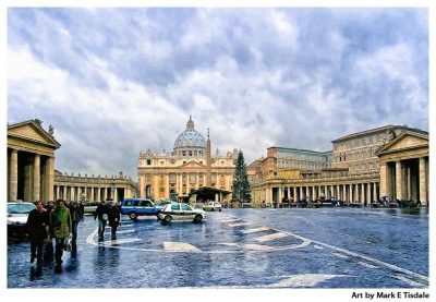 St Peter's Basilica in the Vatican - Stormy Winter Day - Rome Print by Mark Tisdale