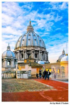 St Peter's Dome - Rome Vatican Print by Mark Tisdale