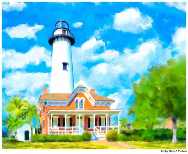 St Simons Lighthouse Art Print - Georgia Coast Art by Mark Tisdale