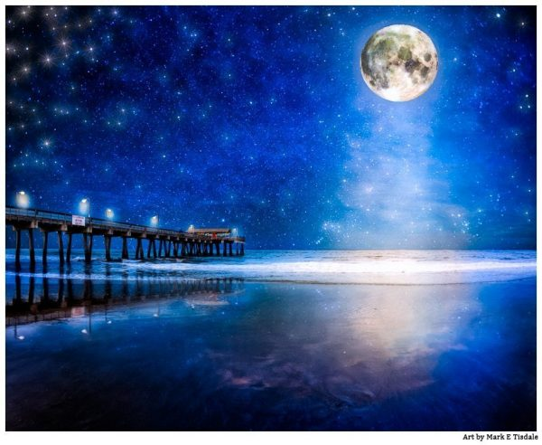 Starry Night And Full Moon Over the beach at Tybee Island - Georgia Coast Print by Mark Tisdale