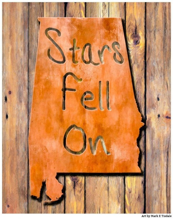 Stars Fell on Alabama - Rustic State Map Print by Mark Tisdale