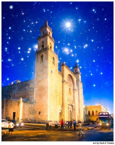 Starry Night in Mexico - Mérida Cathedral Print by Mark Tisdale