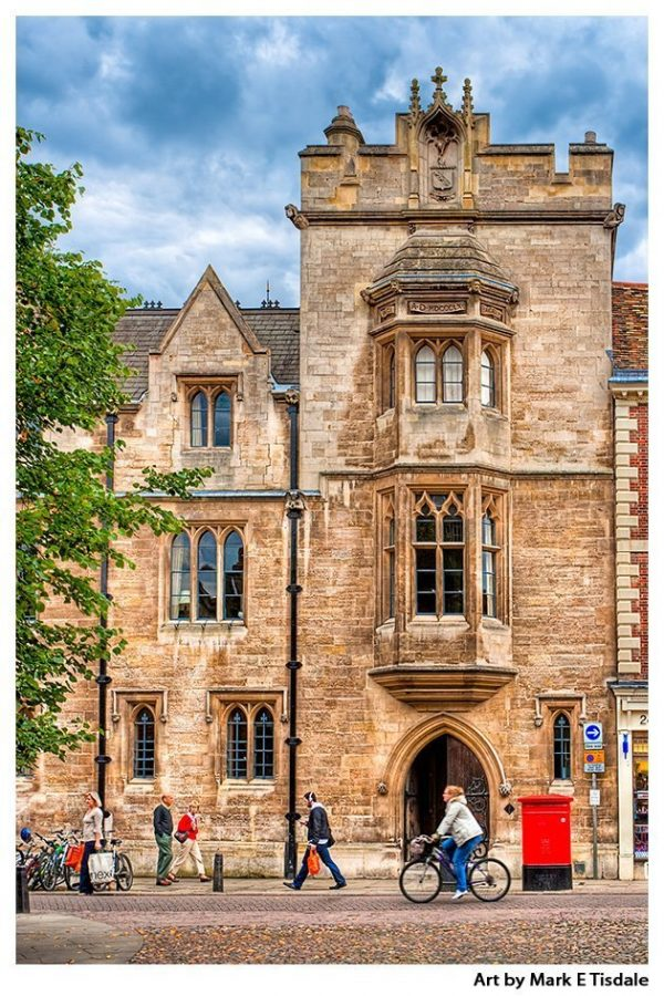 Streets of Cambridge England outside of Whewell's Courts - Cambridge Print by Mark Tisdale