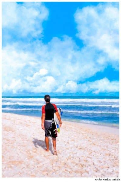 Surfer Beach Art Print - Playa del Carmen Print by Mark Tisdale