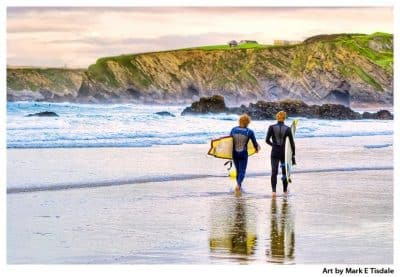 Surfers on the beach at Newquay in Cornwall - British Landscape Art Print by Mark Tisdale
