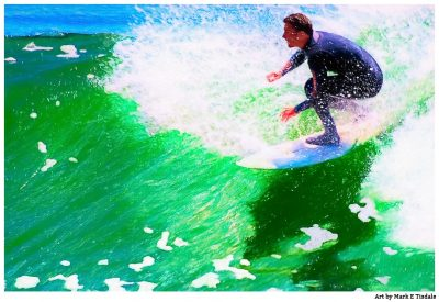 Surfing Action Art Print - California Coast at Santa Cruz - Print by Mark Tisdale