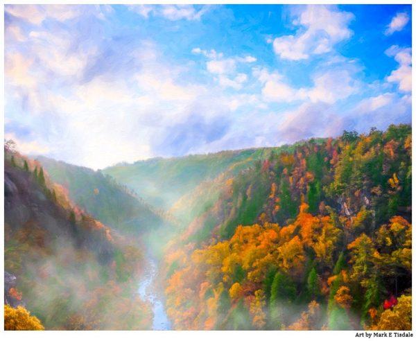 Tallulah Gorge Sunrise - North Georgia Fall Color Landscape Print by Mark Tisdale