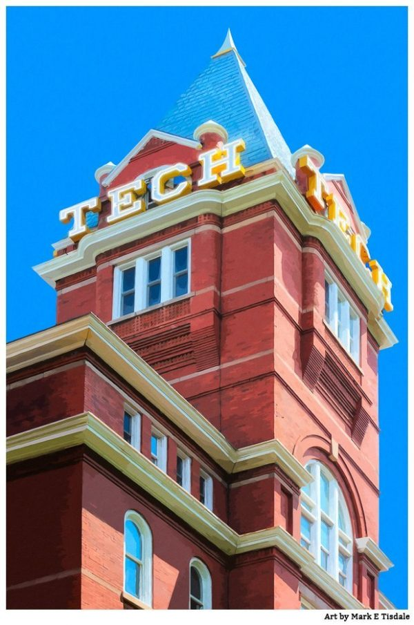 Tech Tower on the historic Georgia Tech Campus - Atlanta Georgia Print by local artist Mark Tisdale