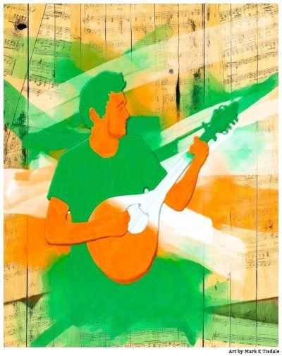 Traditional Irish Music Artwork In Colors of The Irish Flag - Print by Mark Tisdale
