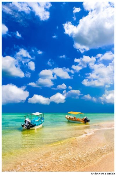 Tropical Beach Art Print - Boats On The Gulf of Mexico - Print by Mark Tisdale