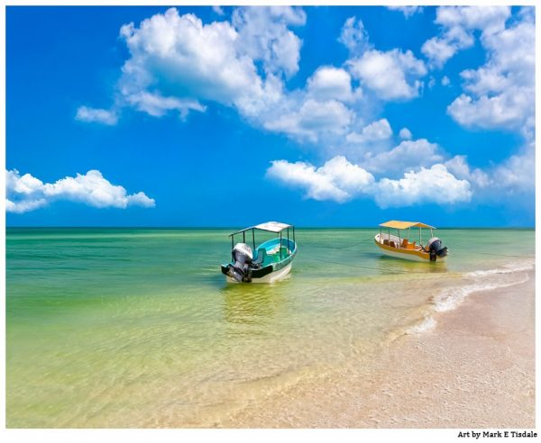 Tropical Boats On the shore of Mexico - Mexican Landscape Print by Mark Tisdale