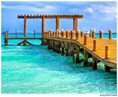 Tropical pier on the Caribbean - Playa del Carmen Print by Mark Tisdale