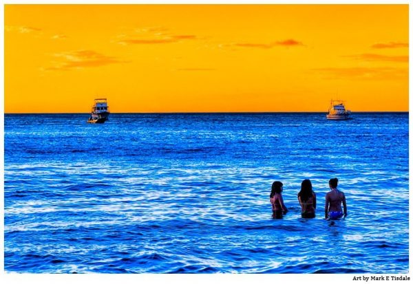 Tropical Seascape - Blue and Gold Costa Rica Print By Mark Tisdale