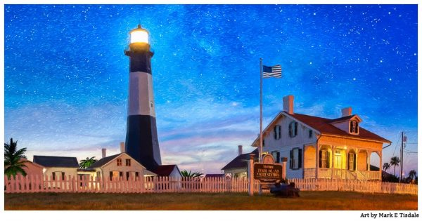 Tybee Island Lighthouse At Night - Georgia Coast Panorama Landscape Print by Mark Tisdale