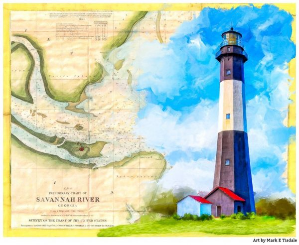 Tybee Island Lighthouse - Vintage Map Art by Mark Tisdale