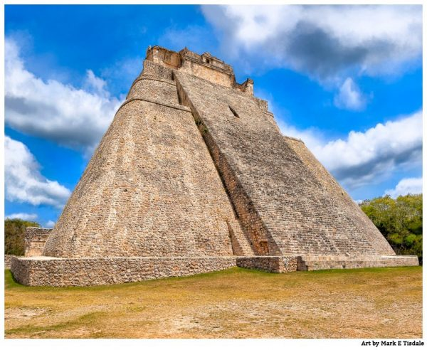 Unique Mayan Architecture - Uxmal Pyramid Print by Mark Tisdale