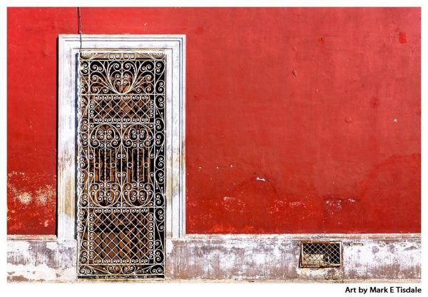 Red Wall and Door - Vibrant Mexican Architecture Print by Mark Tisdale