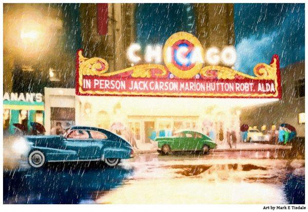 Vintage Chicago Theatre - Rainy Night in 1949