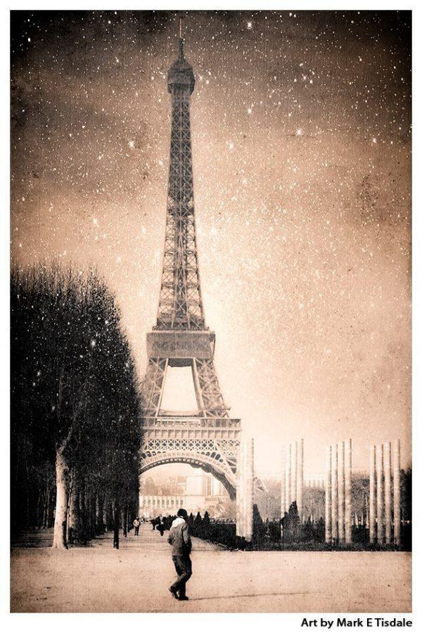 Vintage Eiffel Tower Art Print - Fantasy Stars Falling Over the Landmark in Sepia