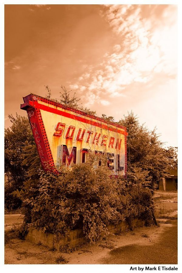 Vintage Motel Sign - Classic Southern Americana - Print by Georgia Artist Mark Tisdale