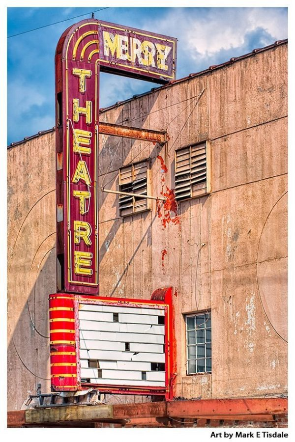 Vintage Theater Marquee - Perry Georgia Print by Mark Tisdale
