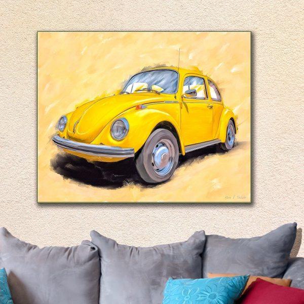 Yellow VW Beetle - Classic Car Art Canvas Print