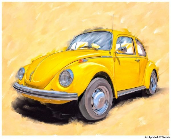 Yellow VW Beetle - Classic Car Art Print by Mark Tisdale